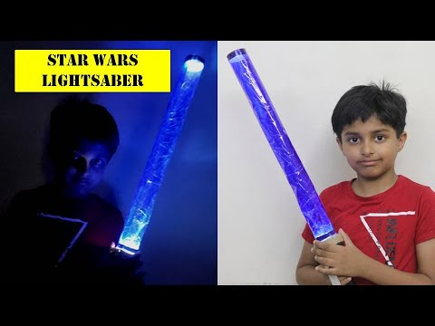 How to make Simple Lightsaber with paper   Star Wars Jedi Sword DIY   Paper Weapons Craft at Home
