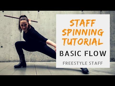 BASIC FLOW - Video 1/5- BEGINNER Staff Spinning Tutorial Series