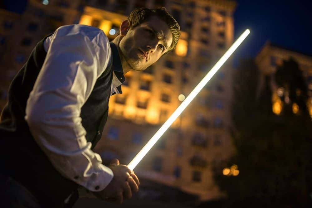 Fight with real lightsaber